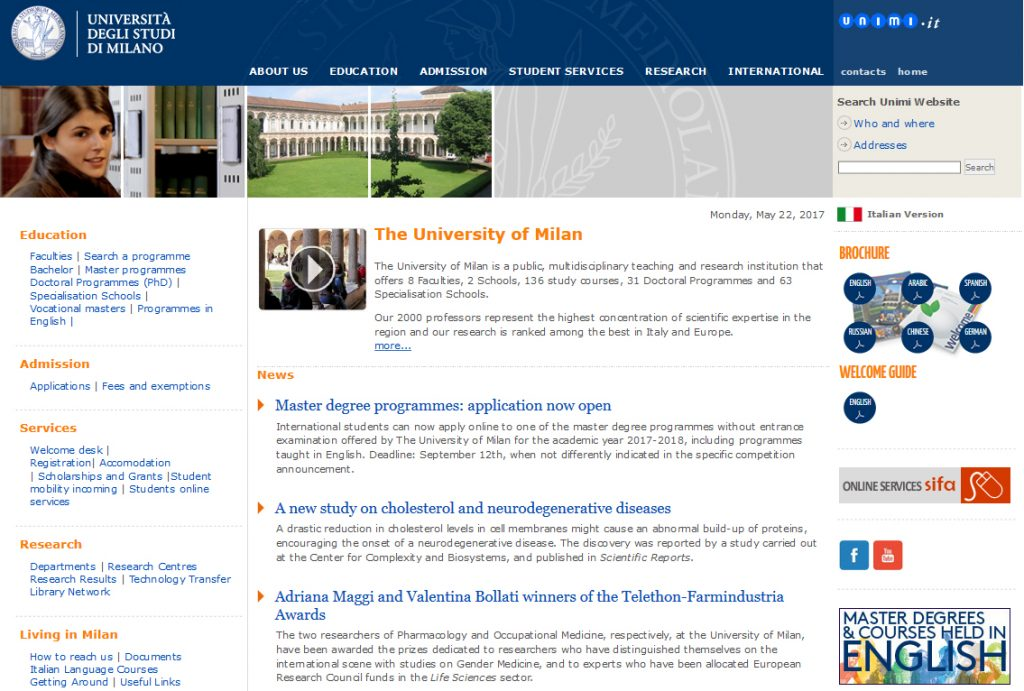 Università di Milano - Sito web internazionale