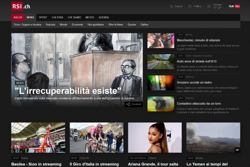 RSI-Radiotelevisione Svizzera Sito Web News