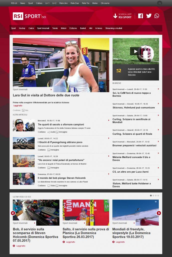 RSI-Radiotelevisione Svizzera, Sito Web Sport