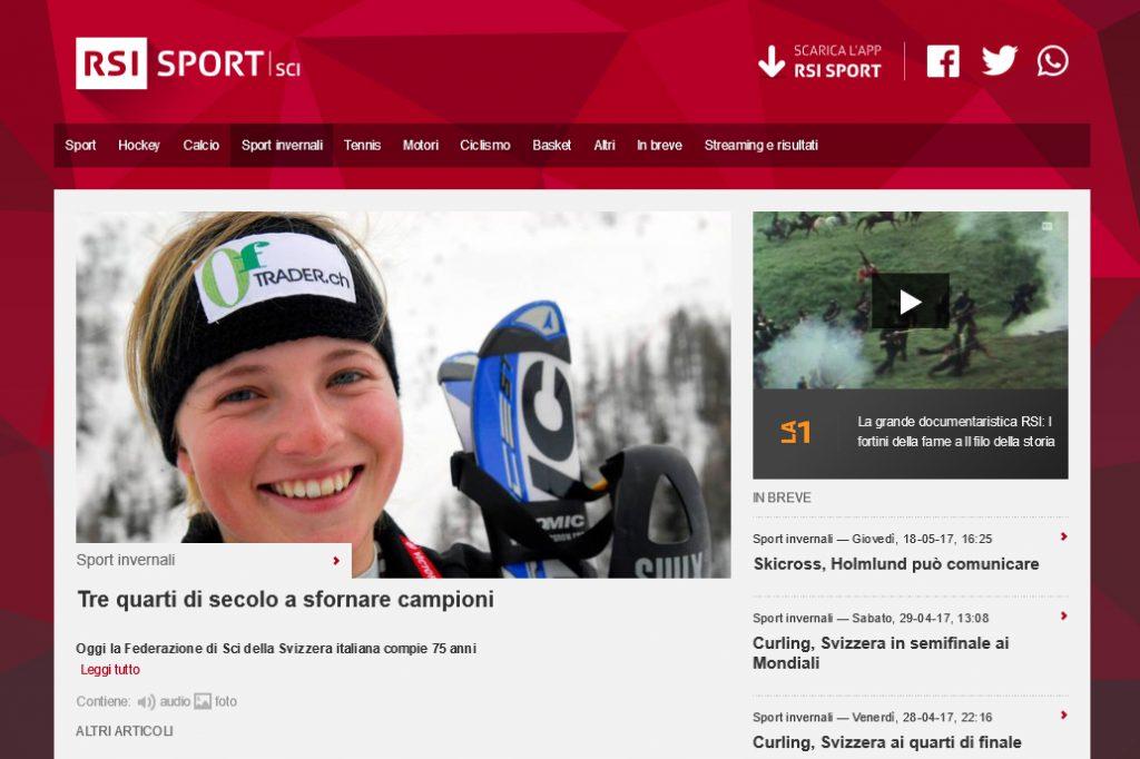 RSI Televisone Svizzera pagina web sport