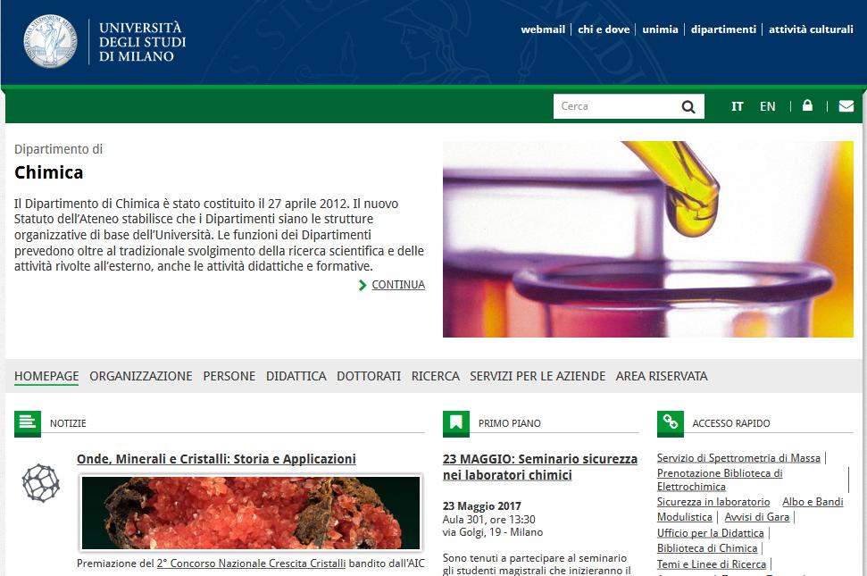 Università di Milano - Sito web Chimica