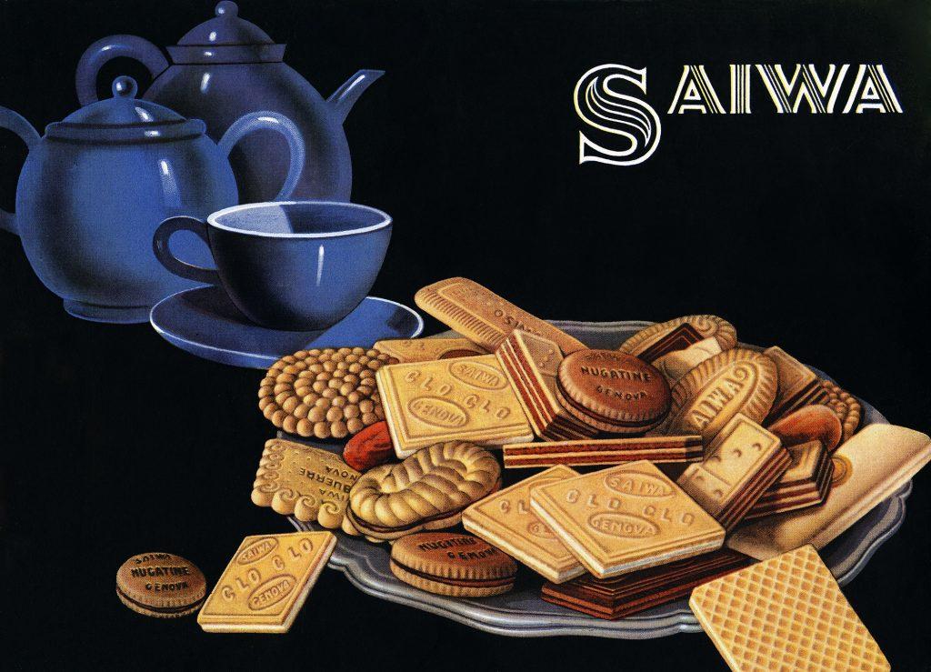 Saiwa incarto scatola biscotti assortiti 1950